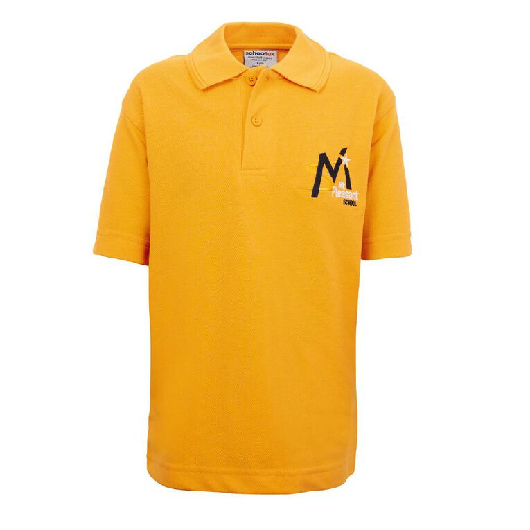 Schooltex Mt Pleasant School Short Sleeve Polo with Embroidery, Gold, hi-res