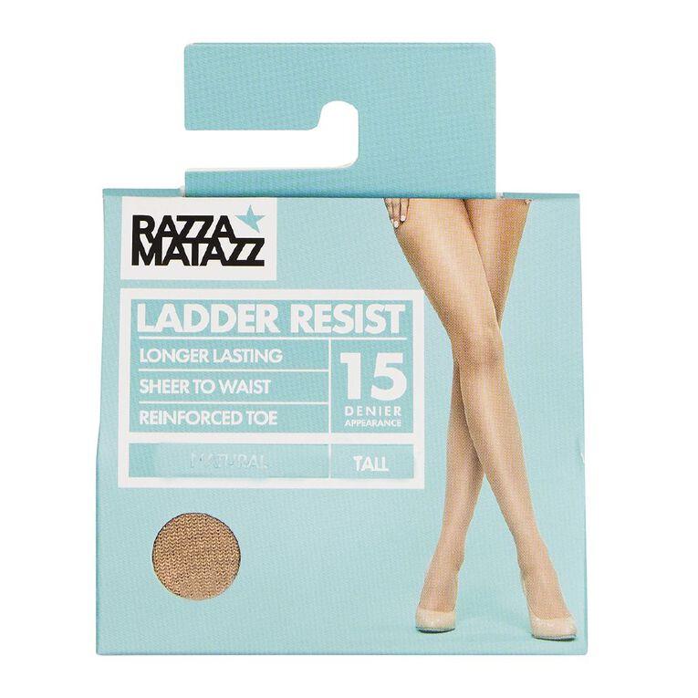 Razzamatazz Women's Sheer Ladder Resist Tights 15 Denier 1 Pack, Natural, hi-res