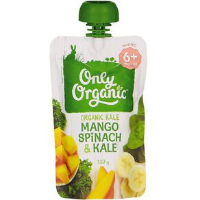 Only Organic Baby Food Mango Spinach and Kale 120g Pouch