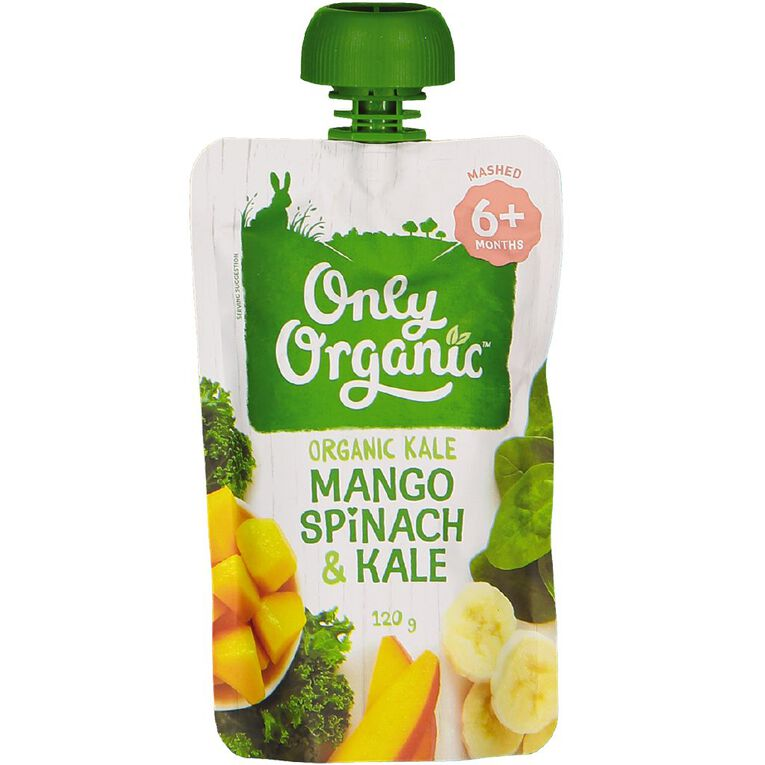 Only Organic Baby Food Mango Spinach and Kale 120g Pouch, , hi-res