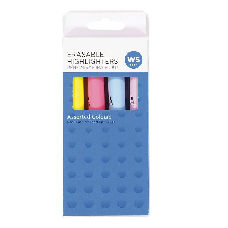 WS Highlighter Erasable Assorted 4 Pack, , hi-res