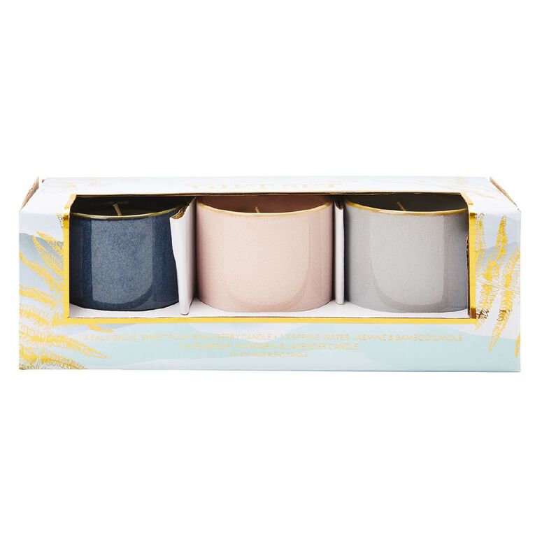 Living & Co Glazed Candle Set of 3 Sweet Plum & Mulberry Purple 5oz, , hi-res