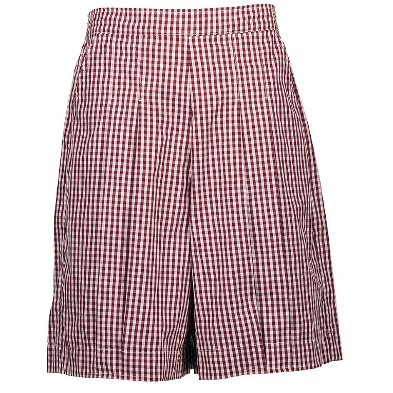 Schooltex Gingham Culottes, Burgundy/White, hi-res