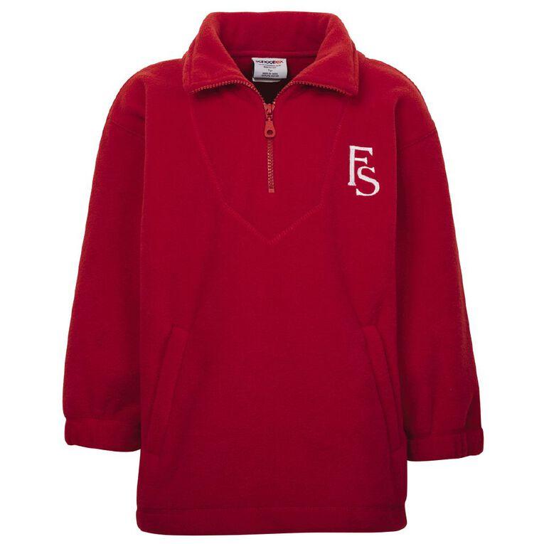 Schooltex Flemington School Polar Fleece Top with Embroidery, Red, hi-res