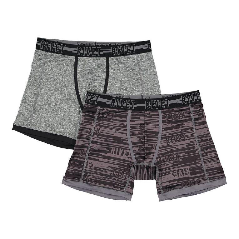 Rivet Men's Long Leg Trunk 2 Pack, Charcoal, hi-res