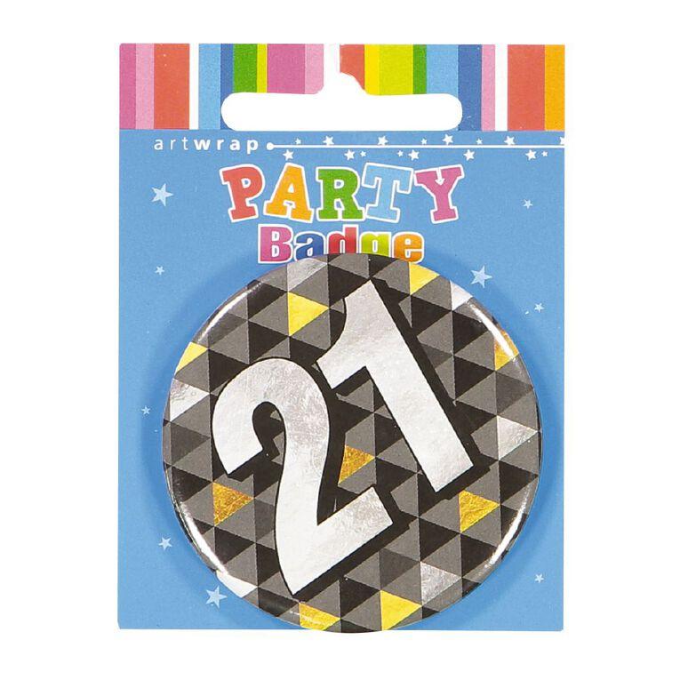 Artwrap 21st Birthday Badge Medium, , hi-res
