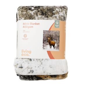 Living & Co 400gsm Mink Blanket Stag Brown Queen