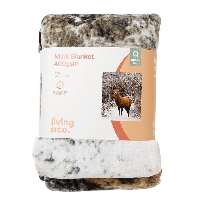 Living & Co 400gsm Mink Blanket Stag Brown Queen, , hi-res