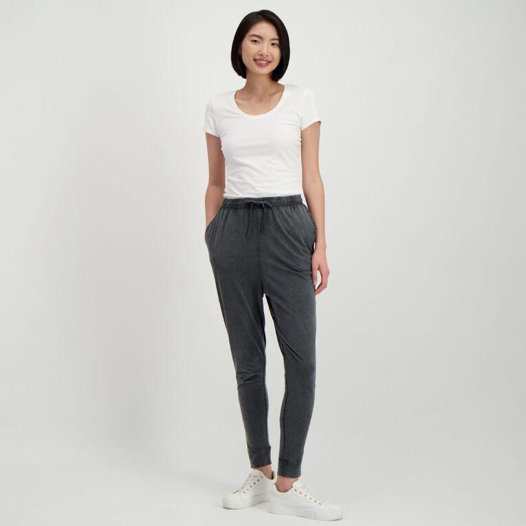 H&H Women's Acid Wash Harem Pants, Black, hi-res