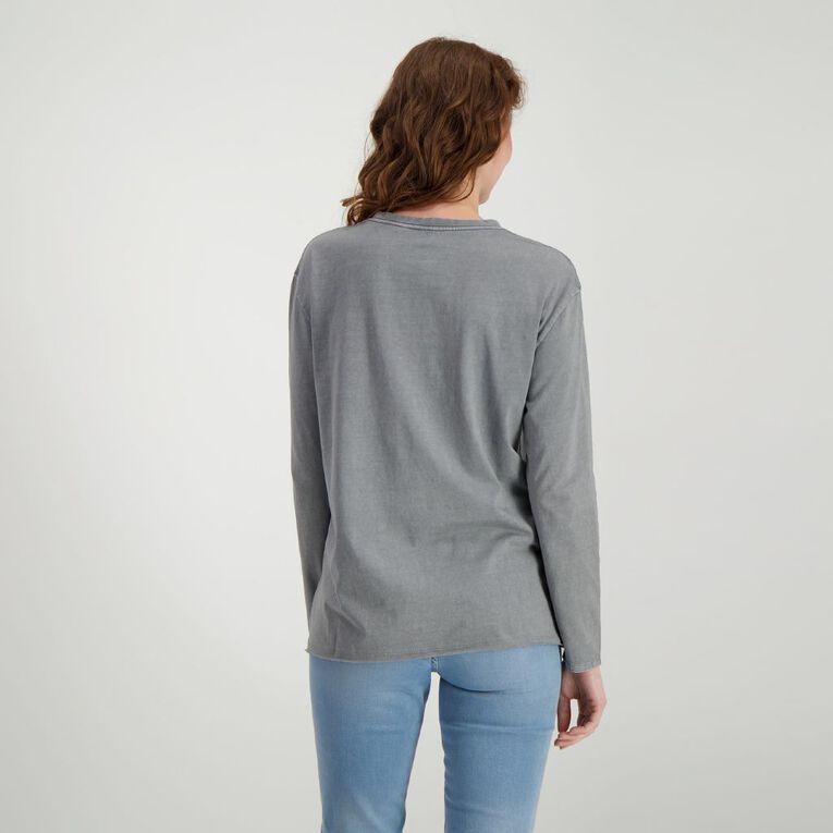 H&H Women's Long Sleeve Printed Tee, Grey Light, hi-res