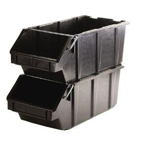 Stackable Garage Bin Black 24L