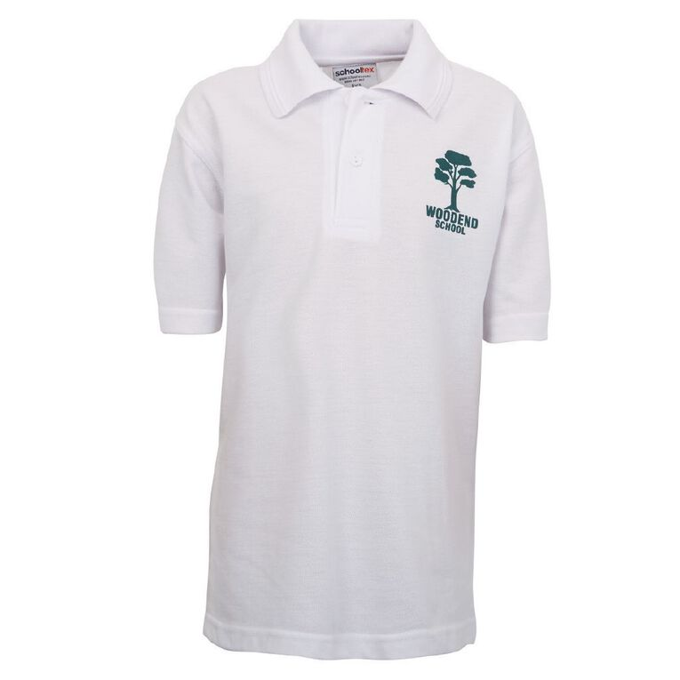 Schooltex Woodend Short Sleeve Polo with Transfer, White, hi-res