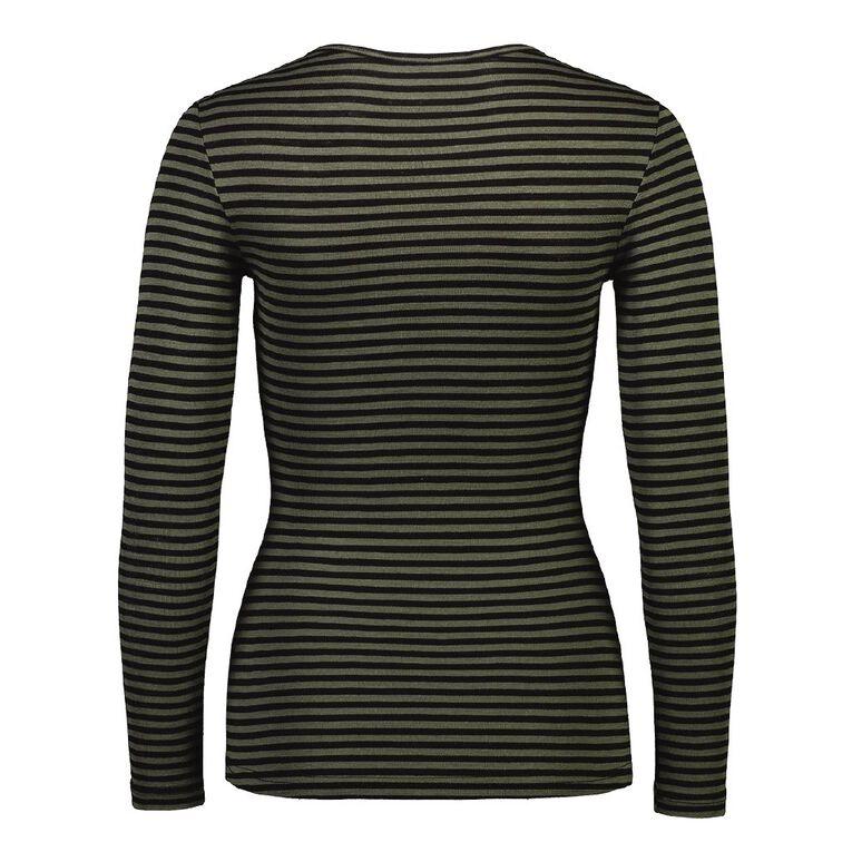 H&H Women's Merino Stripe Crew, Khaki, hi-res image number null