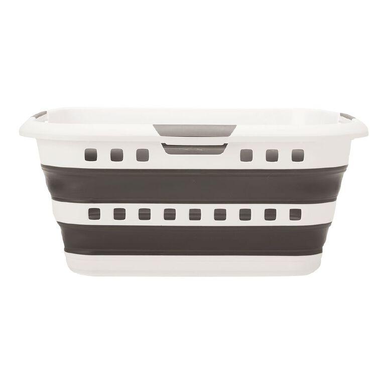 Living & Co Flexi Collapsible Laundry Basket Black/White, , hi-res