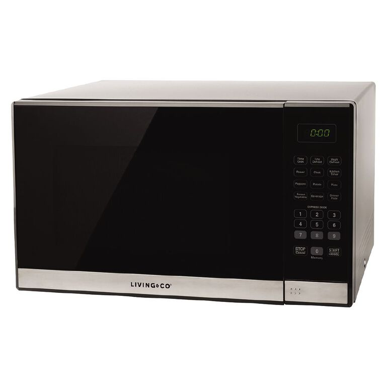 Living & Co Microwave 34 Litres 1100w Black / Stainless Steel, , hi-res