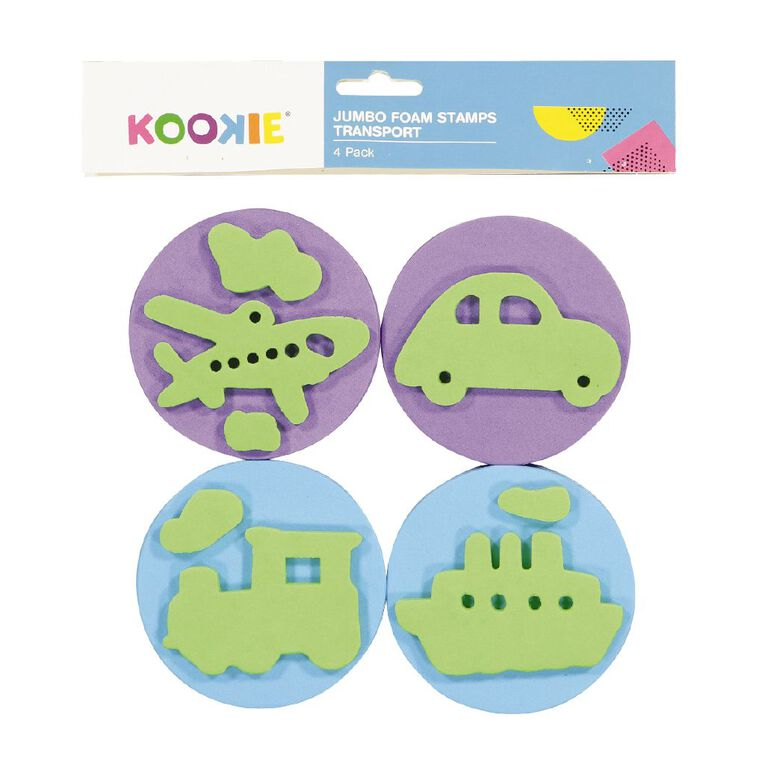 Kookie Jumbo Foam Stamps 4pk Transport, , hi-res
