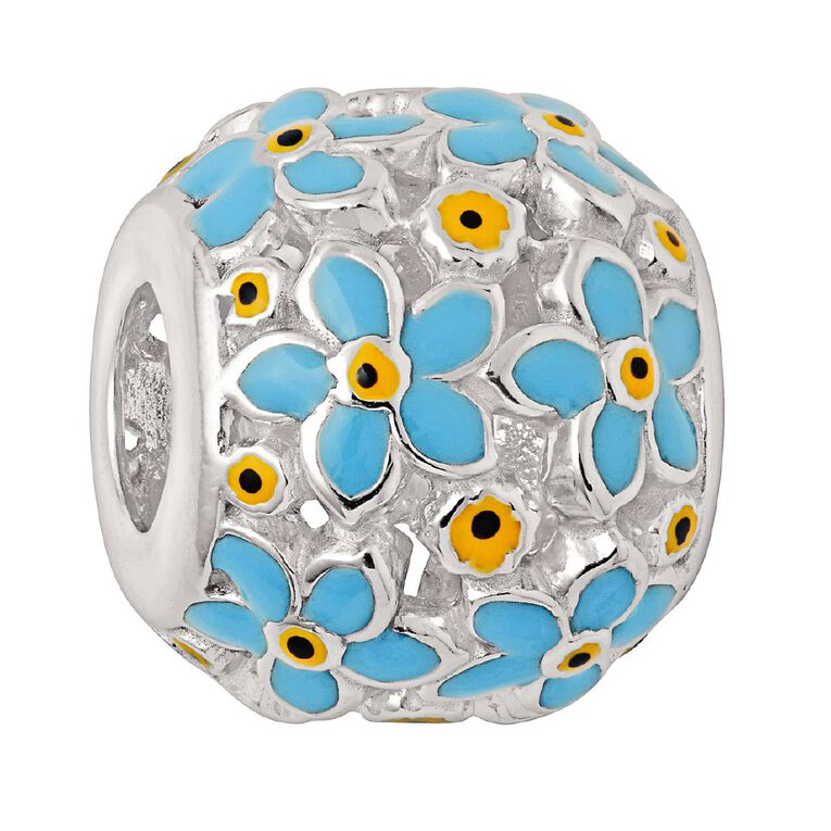 Ane Si Dora Sterling Silver Forget Me Not Ball Blue Charm, , hi-res