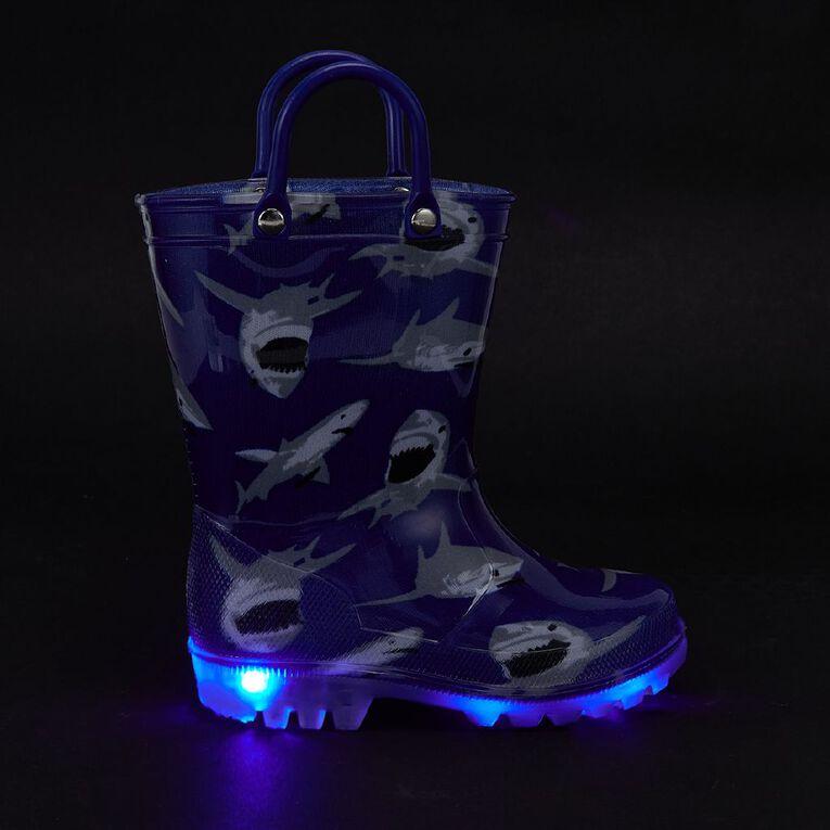 Young Original Kids' Shark Light Up Gumboots, Blue, hi-res