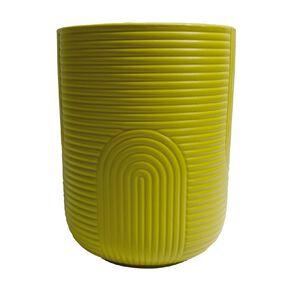 Kiwi Garden Patterned Ceramic Pot Yellow 14cm