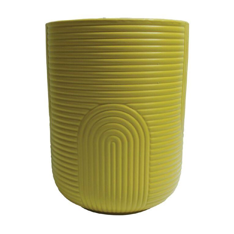 Kiwi Garden Patterned Ceramic Pot Yellow 14cm, , hi-res