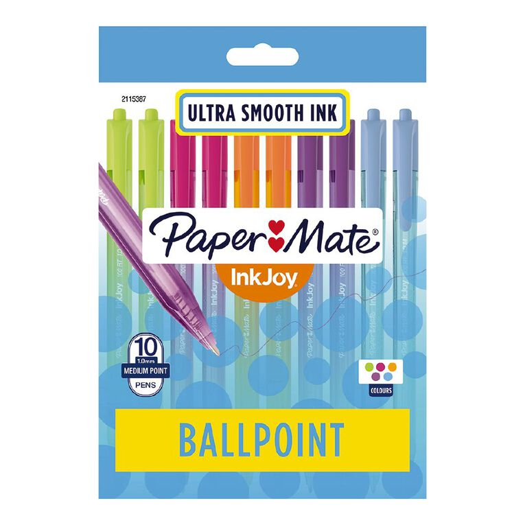 Paper Mate InkJoy 100RT 1.0mm Ballpoint Pen Fashion Assorted 10 Pack, , hi-res