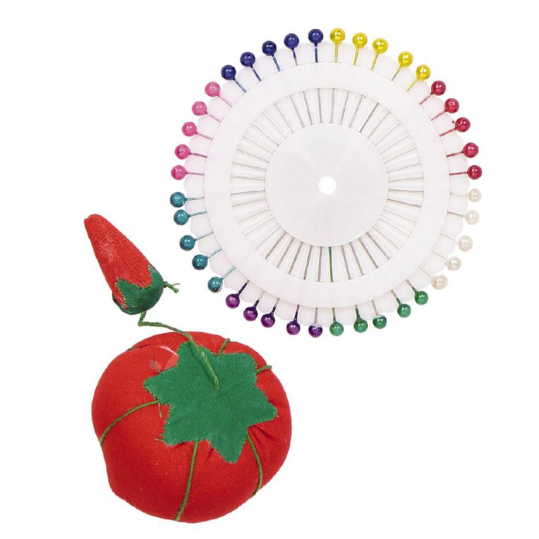 Uniti Pearlized Pins and Pin Cushion Multi-Coloured 40 Pack, , hi-res