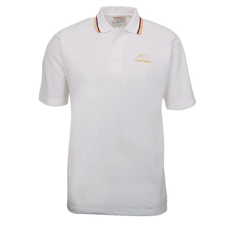 Schooltex James Hargest Short Sleeve Polo, White, hi-res