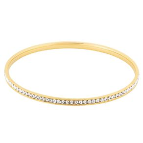Stainless Steel Yellow Gold Plated CZ Channel Bangle