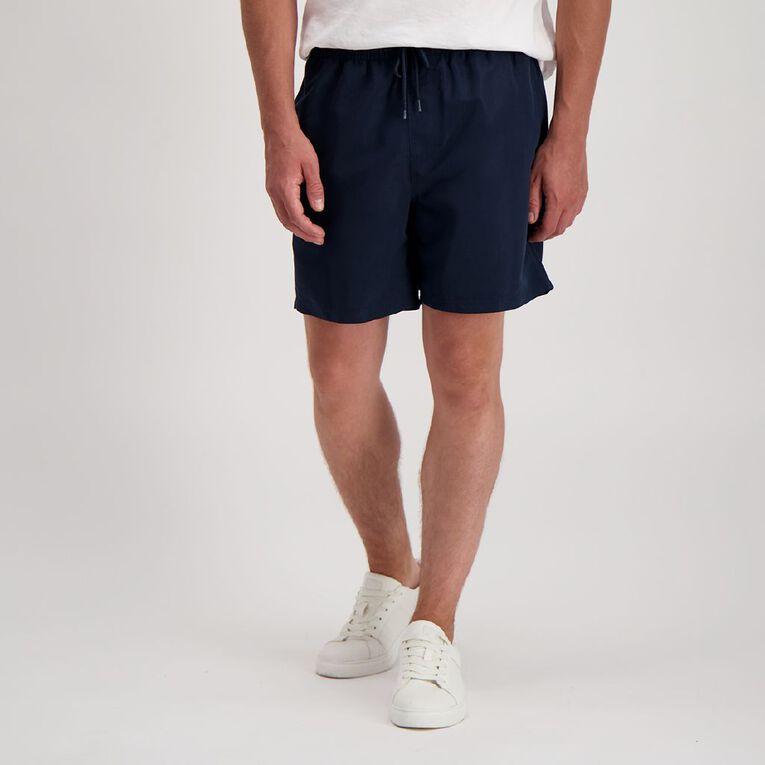 H&H Men's Plain Microfibre Board Shorts, Navy, hi-res