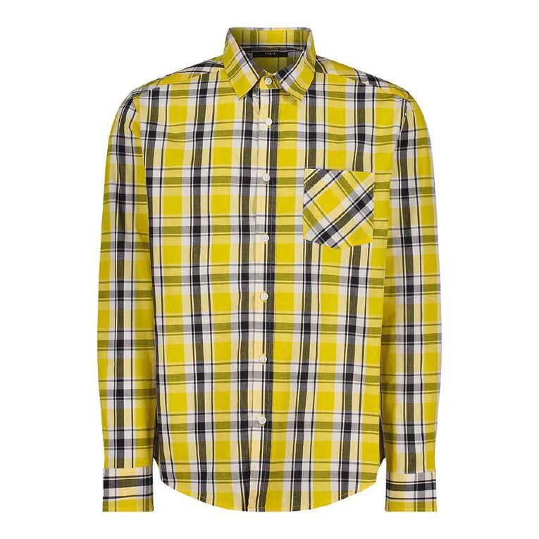 H&H Men's Long Sleeve Classic Check Shirt, Yellow, hi-res