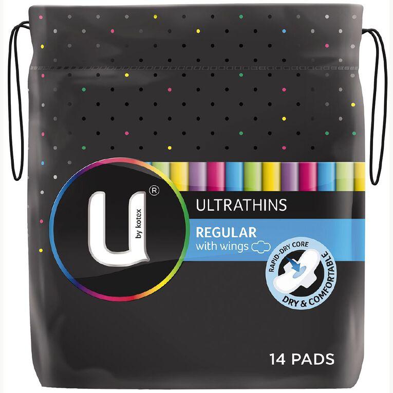 U By Kotex Ultrathin Pads Regular Wing 14s, , hi-res