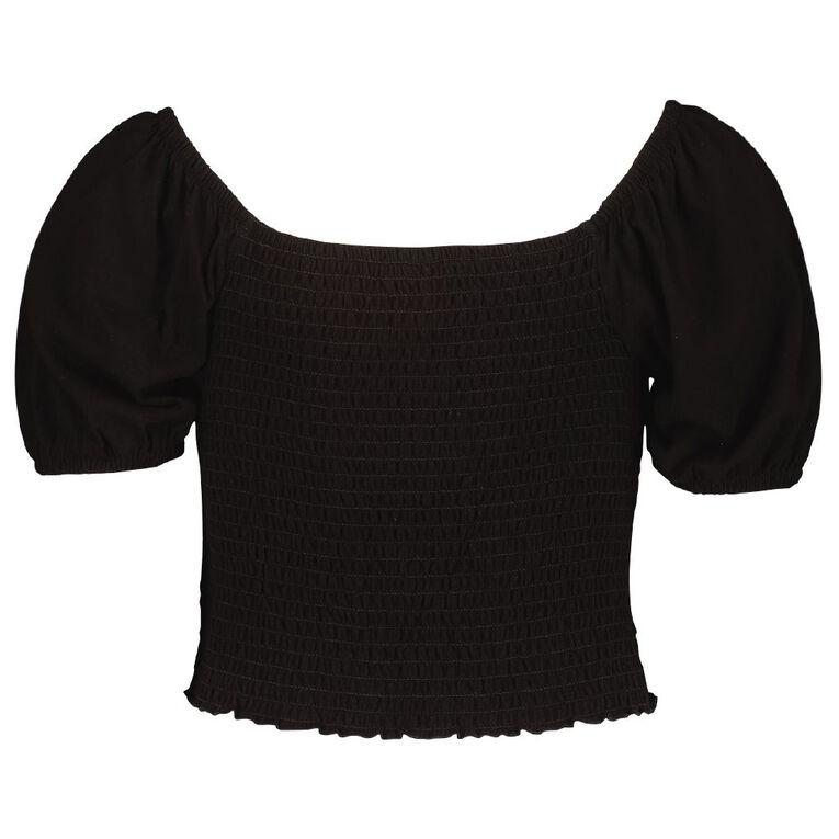 Young Original Short Sleeve Shirred Top, Black, hi-res