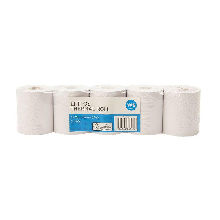 WS Eftpos Roll 57 x 47mm Thermal 5 Pack FSC Paper 65gsm, , hi-res