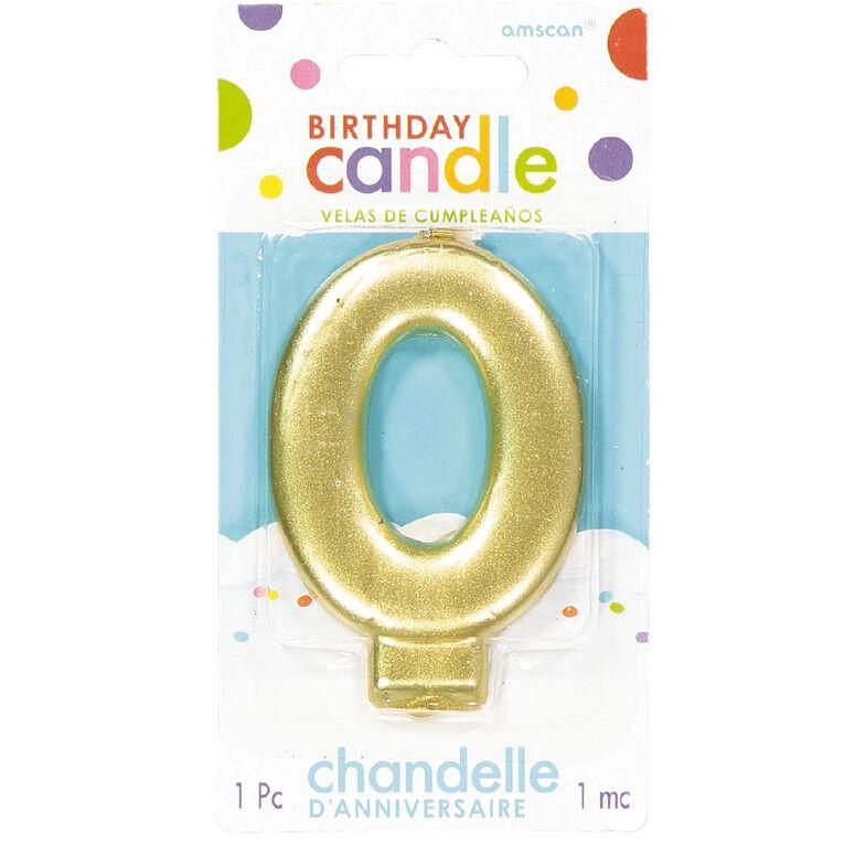 Candle Metallic Numeral #0 Gold, , hi-res