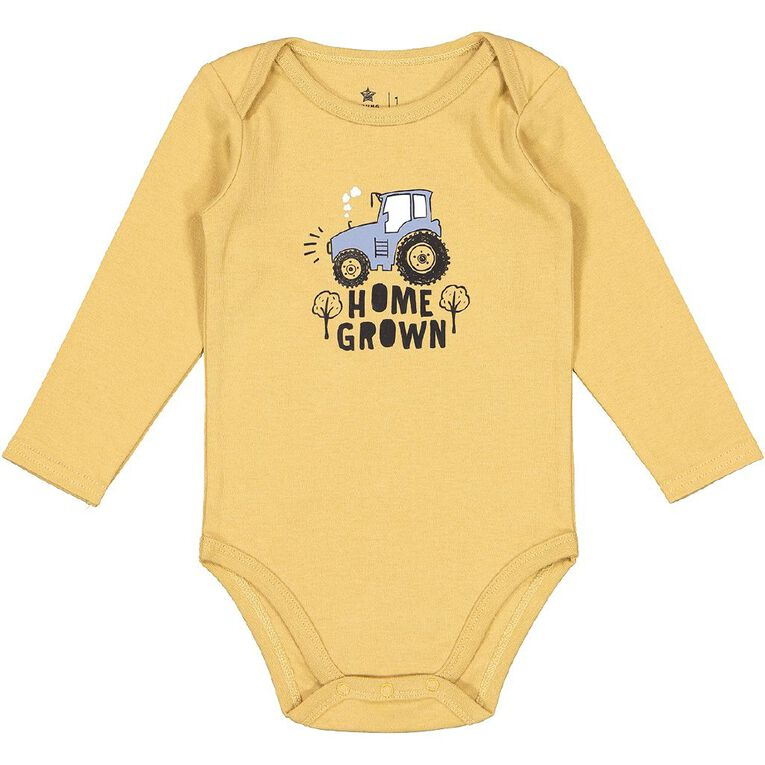 Young Original Baby 3 Pack Long Sleeve Bodysuits, Brown Mid, hi-res
