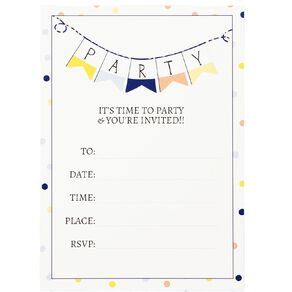 Party Inc Confetti Invitations with Envelopes 17.5cm x 12.5cm 8 Pack