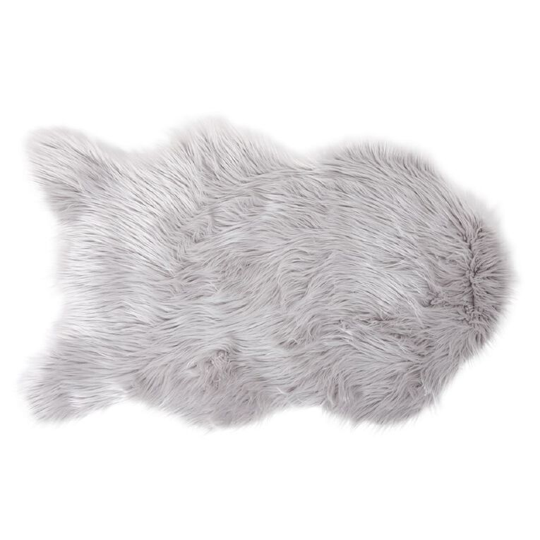 Living & Co Faux Sheep Skin Rug Silver 60cm x 100cm, Silver, hi-res image number null