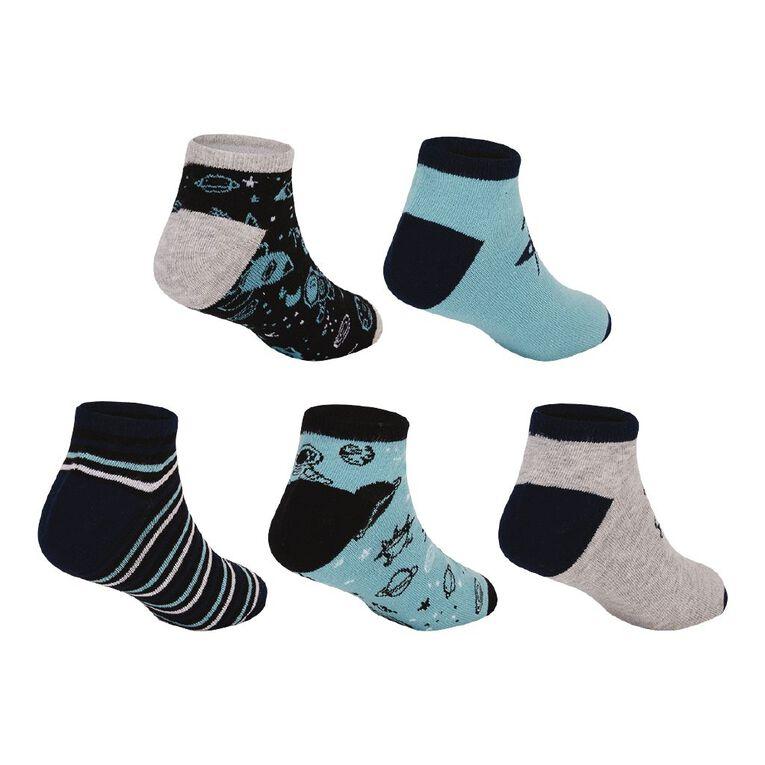 H&H Boys' Jacquard Liner Socks 5 Pack, Navy, hi-res