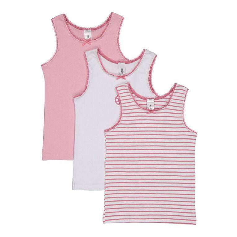 H&H Girls' Singlet 3 Pack, Pink Light, hi-res image number null