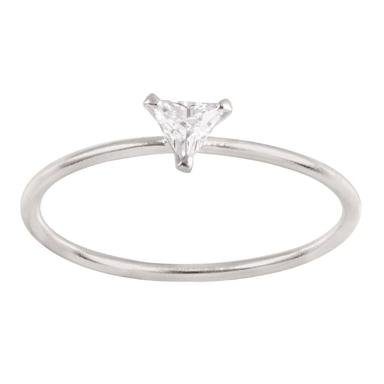 Sterling Silver CZ Triangle Ring, Sterling Silver, hi-res