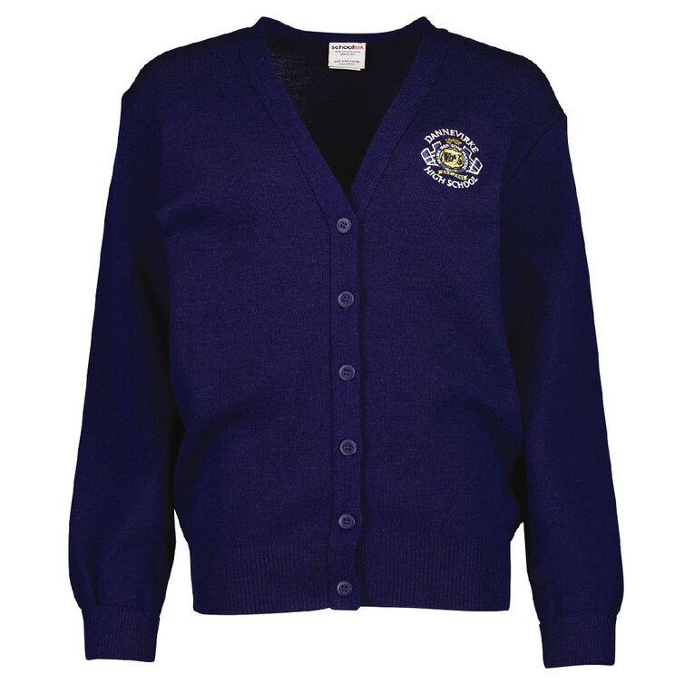 Schooltex Dannevirke High School Cardigan with Embroidery, Dark Royal, hi-res
