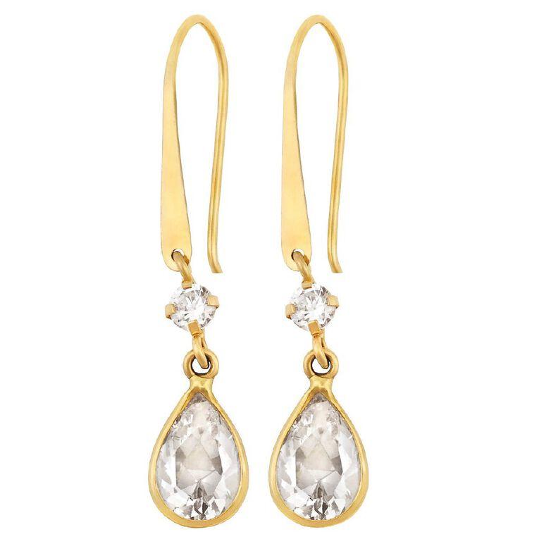 9ct Gold CZ Pear Shepherd Hook Earrings, , hi-res