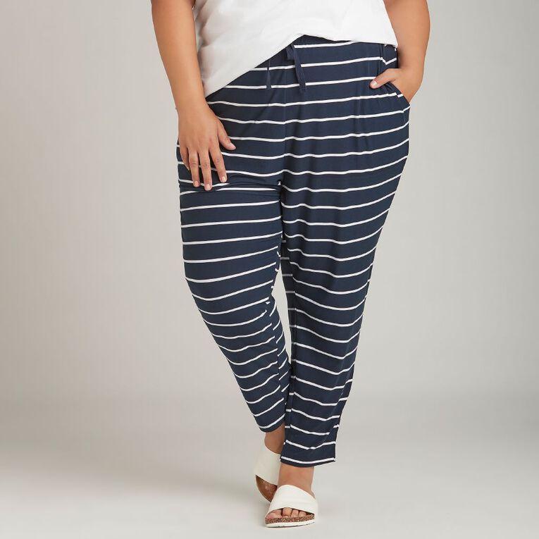 H&H Plus Soft Touch Harem Pants, Navy/White, hi-res