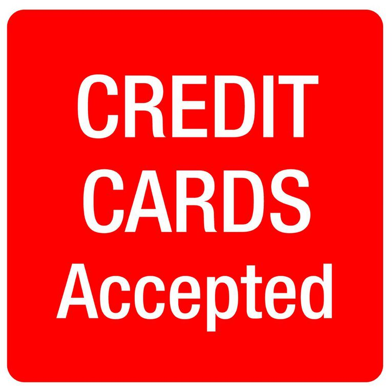APLI Self Adhesive Credit Cards Accepted Red/White, , hi-res