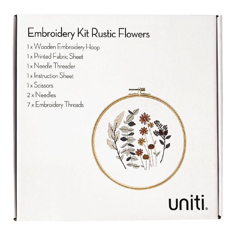 Uniti Embroidery Kit Rustic Flowers 14 Pieces, , hi-res
