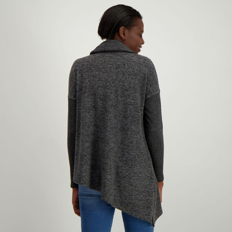 H&H Women's Brushed Roll Neck Poncho, Charcoal/Marle, hi-res