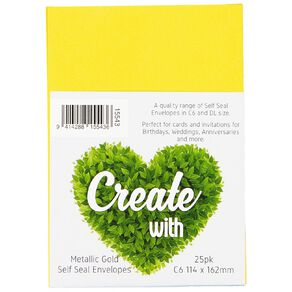 Create With C6 Envelopes 25 Pack Metallic Gold