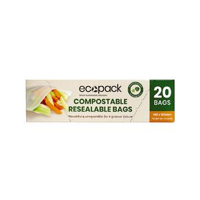 Ecopack Compostable Resealable Snack Bags 20pk