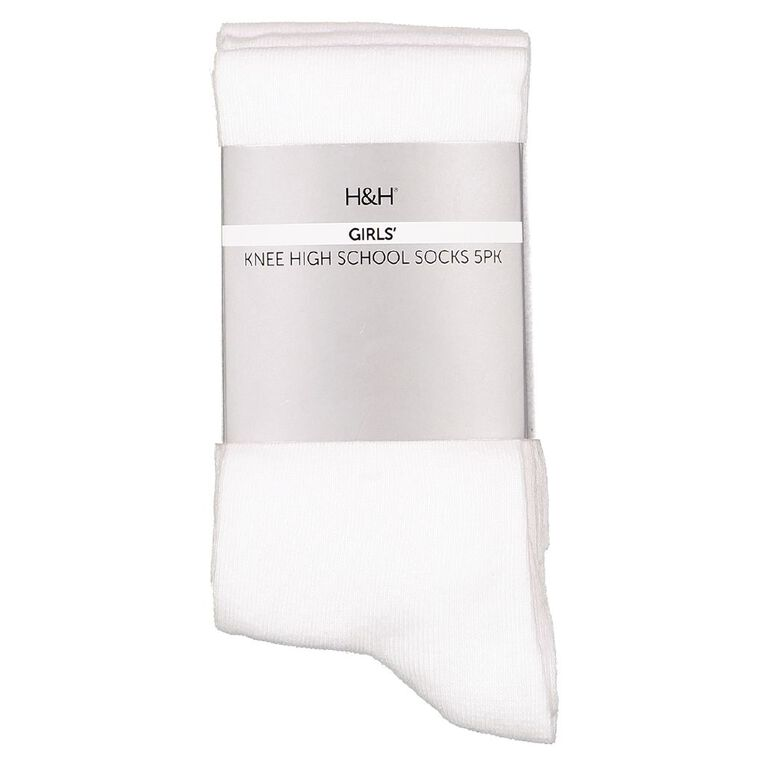 H&H Girls' School Knee High Socks 5 Pack, White, hi-res image number null