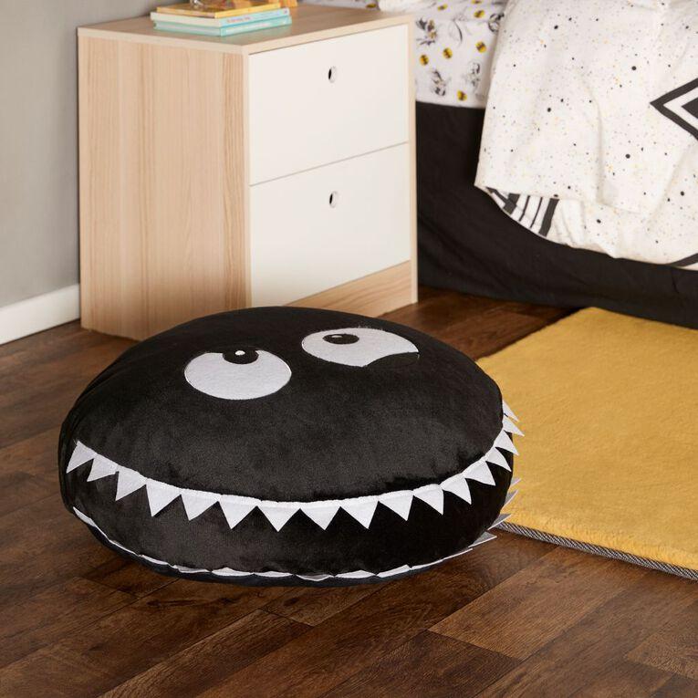 Living & Co Kids Floor Cushion Monster Black/White 60cm x 60cm, Black/White, hi-res
